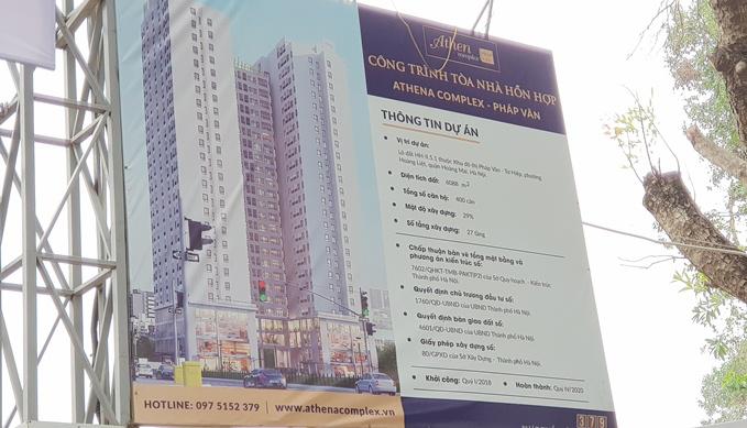 Hà Nội: Dự án Athena Complex Pháp Vân chưa được cấp GPXD đã rao bán  rầm rộ