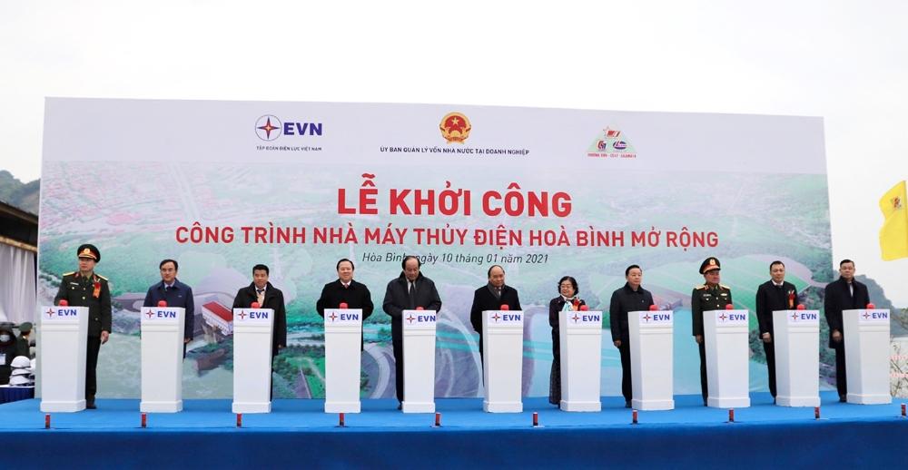 Tập đoàn Điện lực Việt Nam chính thức khởi công xây dựng Dự án Thủy điện Hòa Bình mở rộng