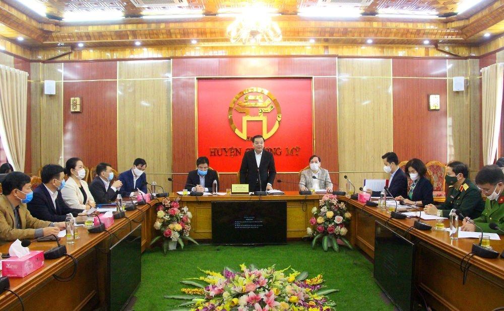 Chủ tịch UBND Thành phố Hà Nội Chu Ngọc Anh kiểm tra công tác phòng chống Covid-19 ở Thanh Oai, Chương Mỹ