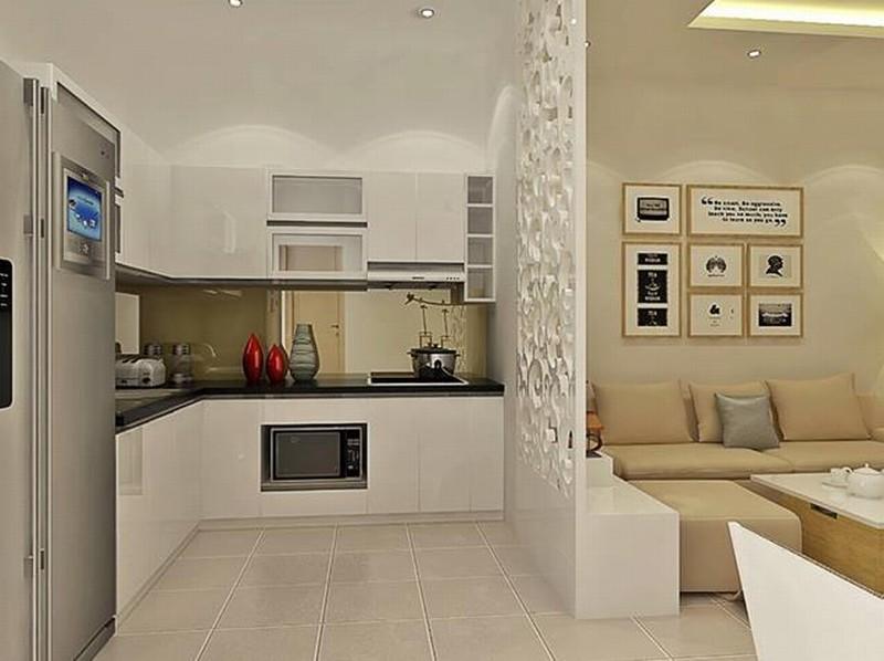 Cách sử dụng vách ngăn trang trí cho phòng khách và phòng bếp