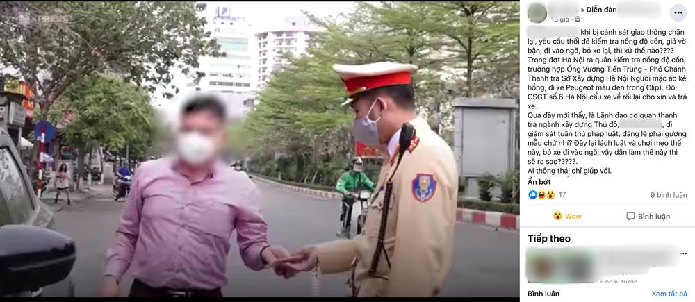 """Nói rõ về thông tin lãnh đạo Thanh tra Sở Xây dựng Hà Nội bỏ xe để """"né"""" đo nồng độ cồn"""