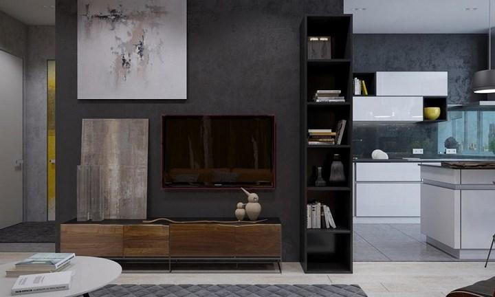 Không cần sơn, nội thất căn hộ vẫn đẹp nhờ tường bê tông