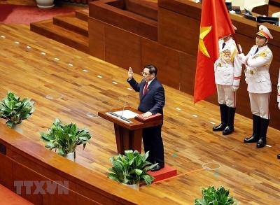 Hình ảnh ông Phạm Minh Chính nhậm chức Thủ tướng Chính phủ