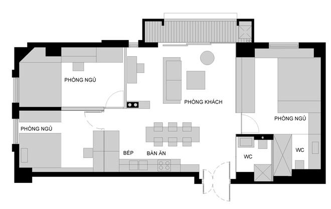 123908baoxaydung image016 Thiết kế căn hộ 91m2 không tường ngăn ở Hà Nội