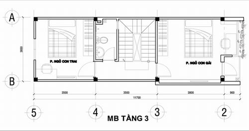 000900baoxaydung image003 Thiết kế kiến trúc nhà ống 50 m2 có 2 mặt thoáng