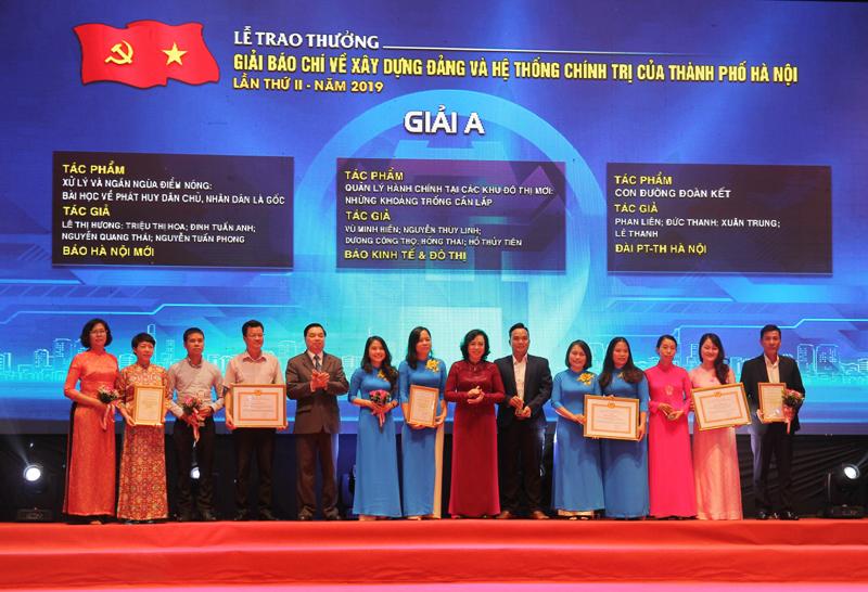 Hà Nội: Trao hai giải báo chí về xây dựng Đảng và phát triển văn hóa Thủ đô năm 2019