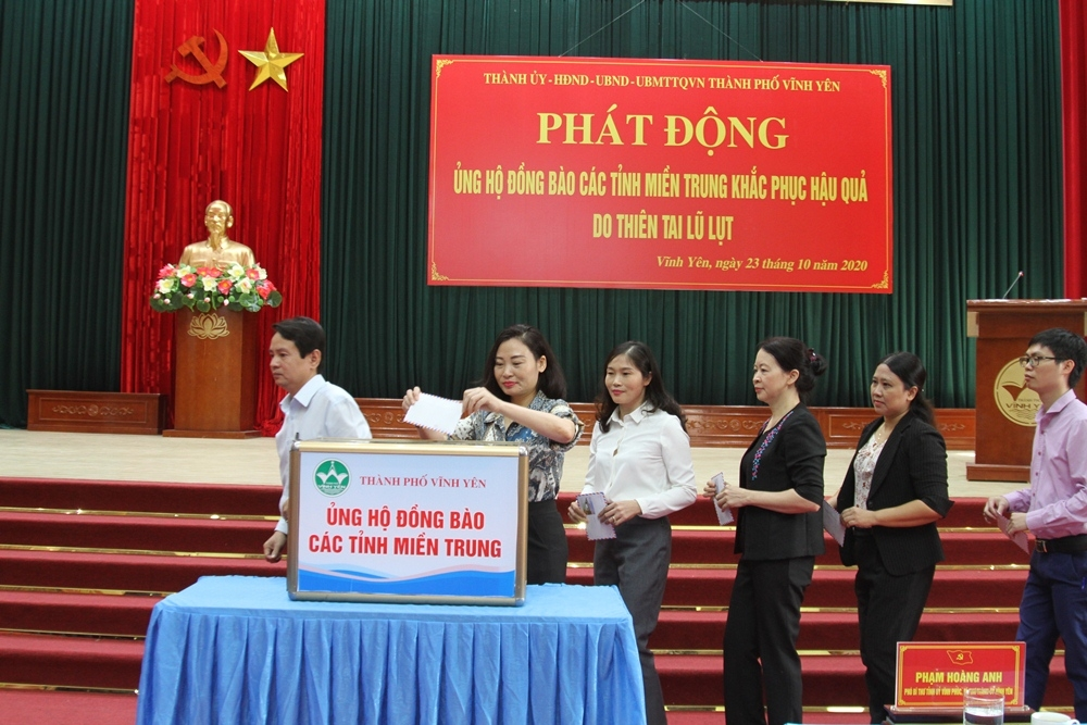 vinh yen vinh phuc phat dong ung ho dong bao mien trung