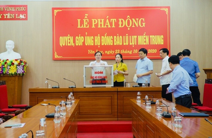 yen lac vinh phuc phat dong ung ho dong bao mien trung khac phuc thiet hai do thien tai