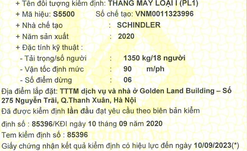 chu dau tu du an golden land thong tin ve su co khu vuc thang may