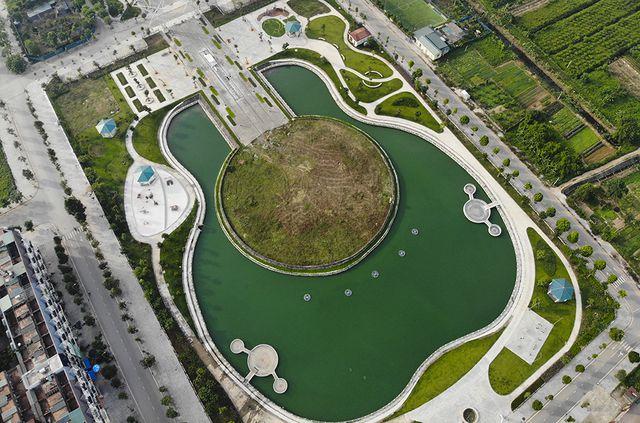 Hồ công viên hình chiếc đàn rộng 6ha sắp hoạt động ở Hà Nội