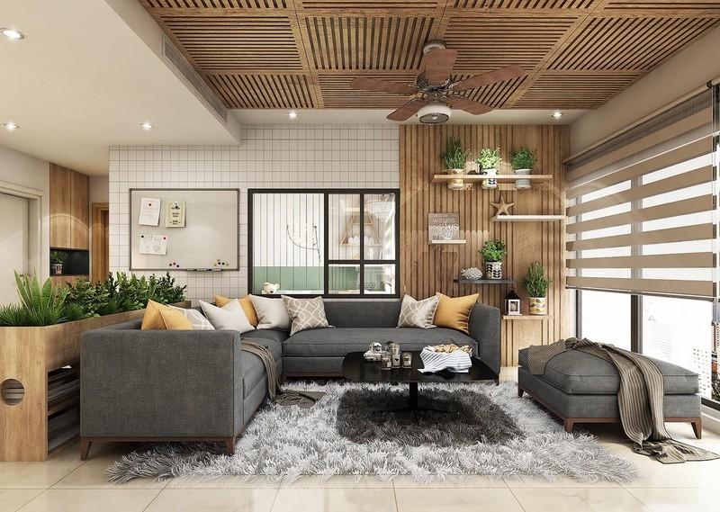 Căn hộ sử dụng nội thất bằng gỗ ấm cúng
