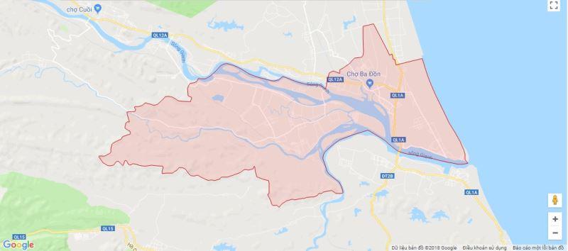 Bản đồ phường xã thị xã Ba Đồn được chụp từ Google Map.