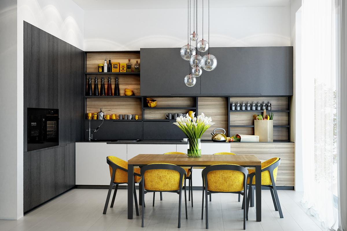 Phòng khách nổi bật với gam màu vàng