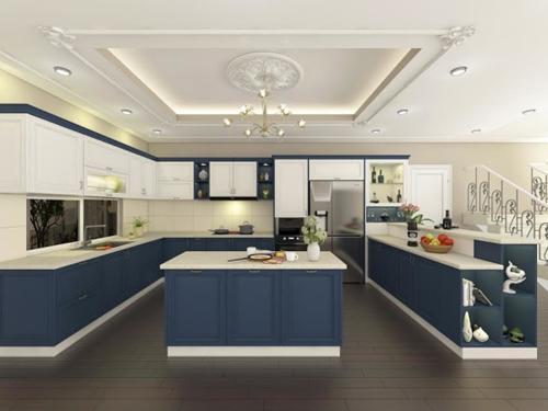 bep 1 4686 1474681732 Thiết kế căn bếp màu xanh coban táo bạo