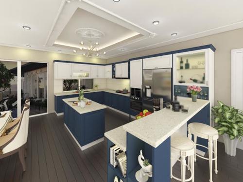 bep 4 7613 1474681732 Thiết kế căn bếp màu xanh coban táo bạo