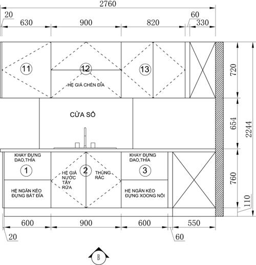 bep 7 4955 1474681732 Thiết kế căn bếp màu xanh coban táo bạo