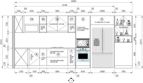 bep 8 2802 1474681732 Thiết kế căn bếp màu xanh coban táo bạo