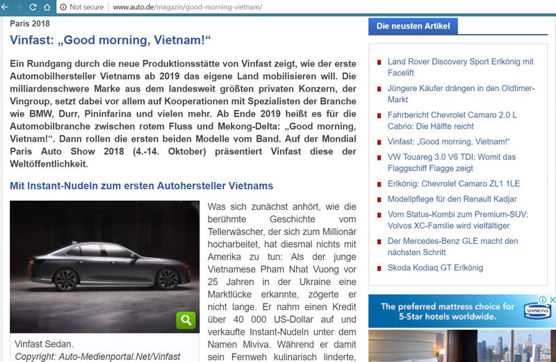 Báo Đức ca ngợi hai mẫu xe ôtô mới của Vinfast