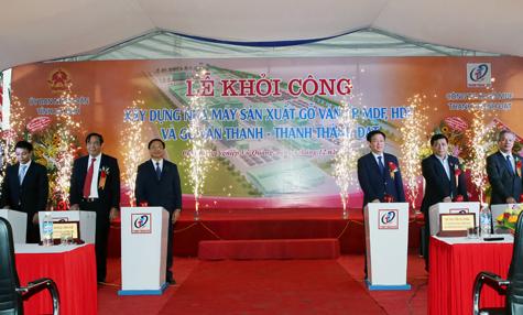 Phó Thủ tướng Vương Đình Huệ phát lệnh khởi công nhà máy gỗ ván ép tại Hà Tĩnh