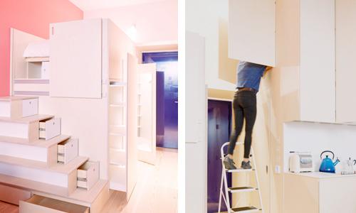 Căn hộ 19 m2 rộng rãi nhờ hai khối hộp gỗ
