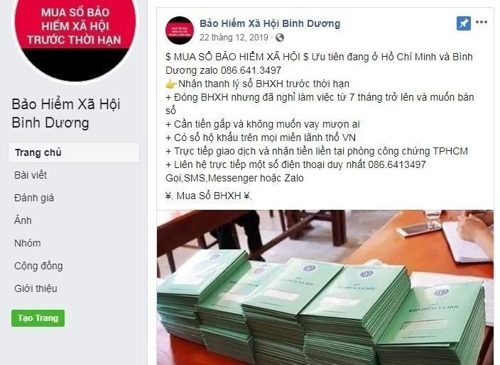canh bao tinh trang mao danh tren facebook de thu gom so bao hiem xa hoi cua nguoi lao dong nham truc loi