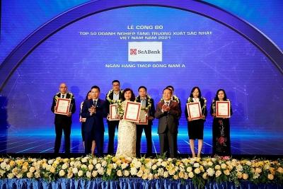SeABank được vinh danh Top 50 doanh nghiệp tăng trưởng xuất sắc nhất Việt Nam năm 2021