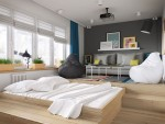 Căn hộ 34 m2 kết hợp phòng khách và phòng ngủ tiện lợi
