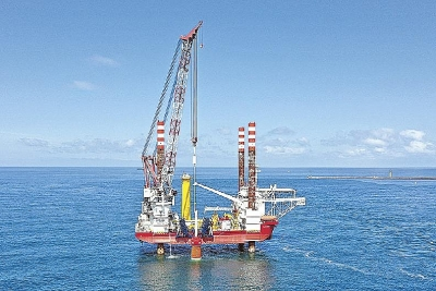 Wind farm construction progressing smoothly off the coast of Akita Prefecture
