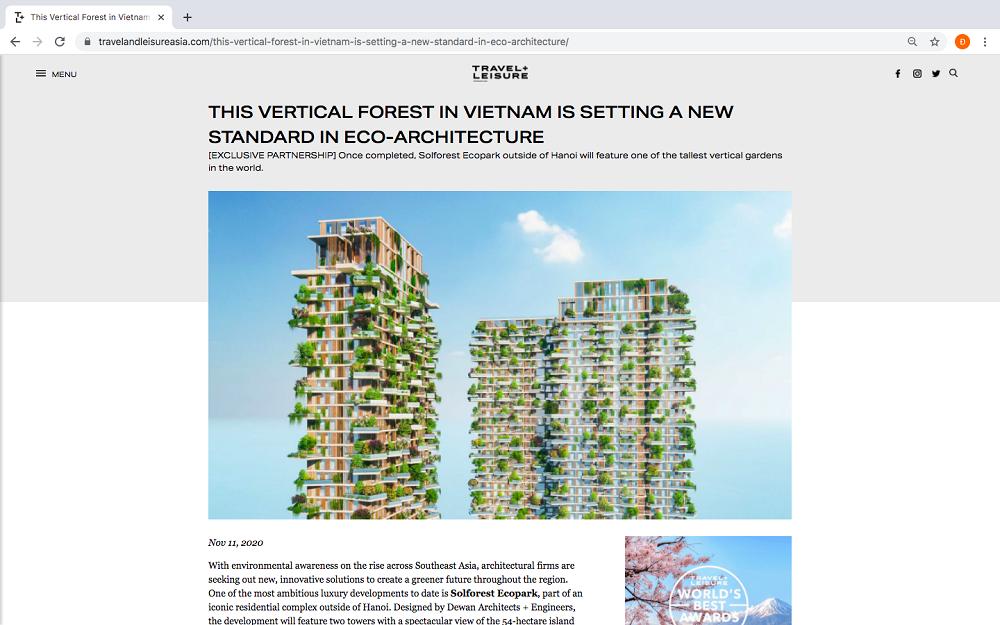 Báo quốc tế viết về toà tháp xanh Ecopark