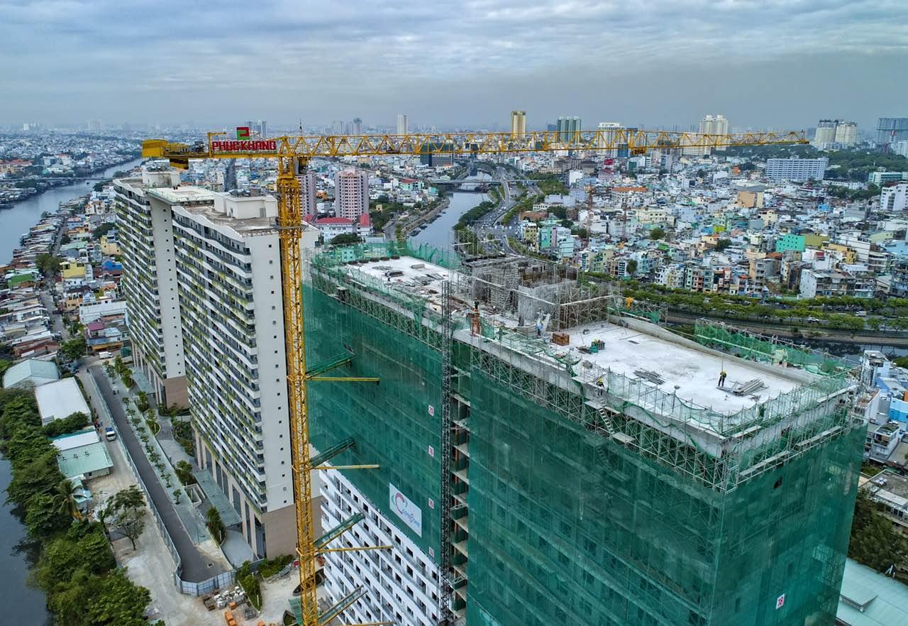 Cất nóc tháp C dự án Diamond Lotus Riverside của Phúc Khang