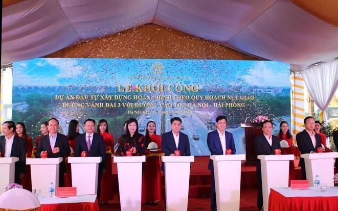 Khởi công nút giao đường vành đai 3 với đường cao tốc Hà Nội-Hải Phòng