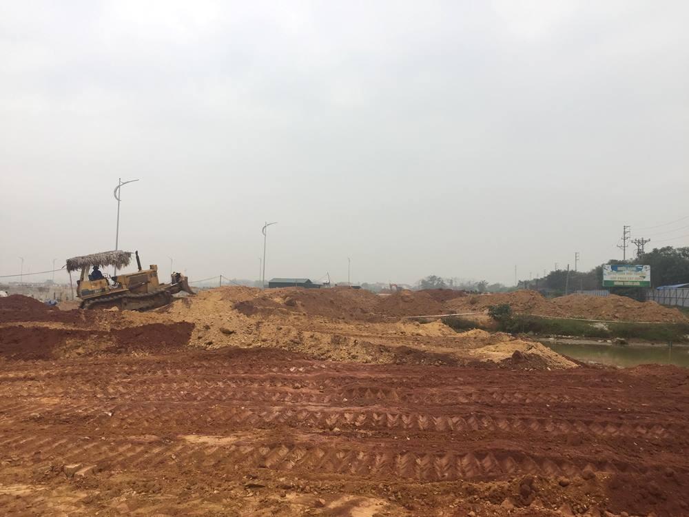 Vĩnh Tường (Vĩnh Phúc): Tổ chức san gạt mặt bằng dự án Khu chợ đầu mối nông sản thực phẩm