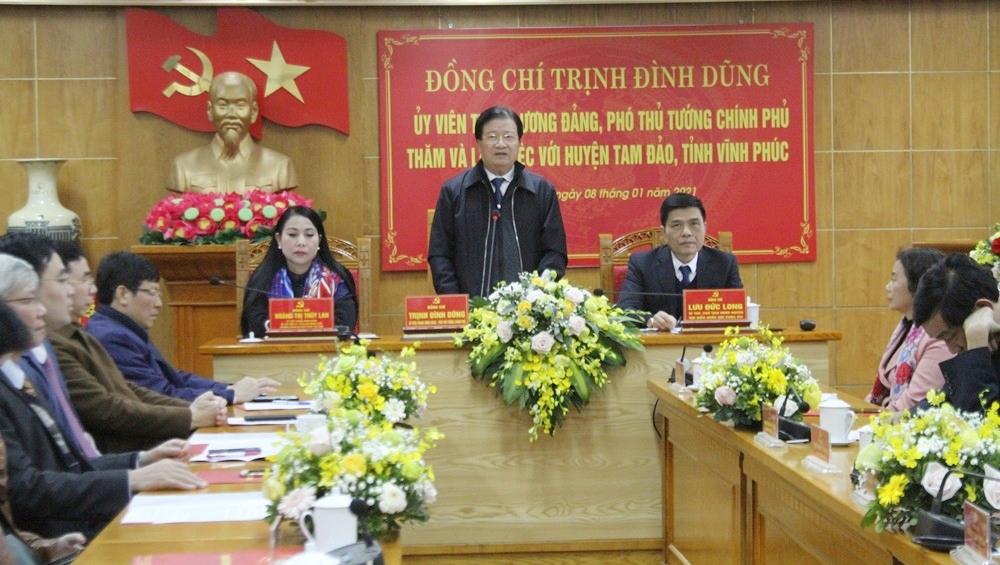 Phó Thủ tướng Chính phủ Trịnh Đình Dũng làm việc với huyện Tam Đảo