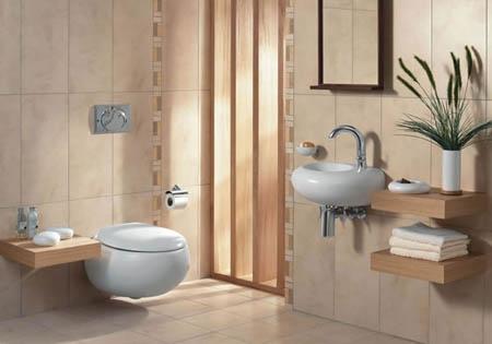 Cách trang trí phòng vệ sinh bằng nhiều nội thất gỗ