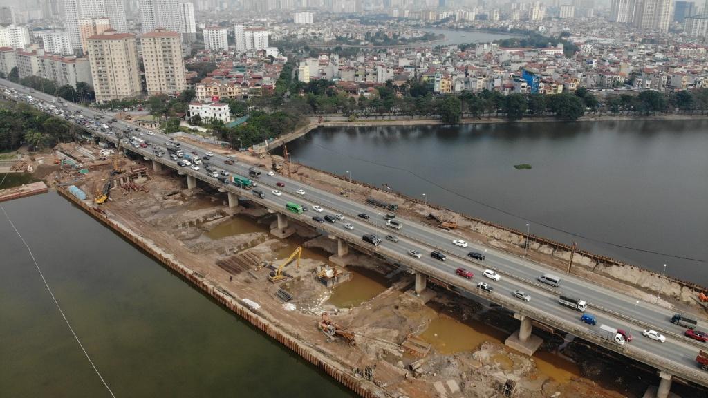 Toàn ảnh Dự án đường Vành đai 3 dưới thấp qua Hồ Linh Đàm