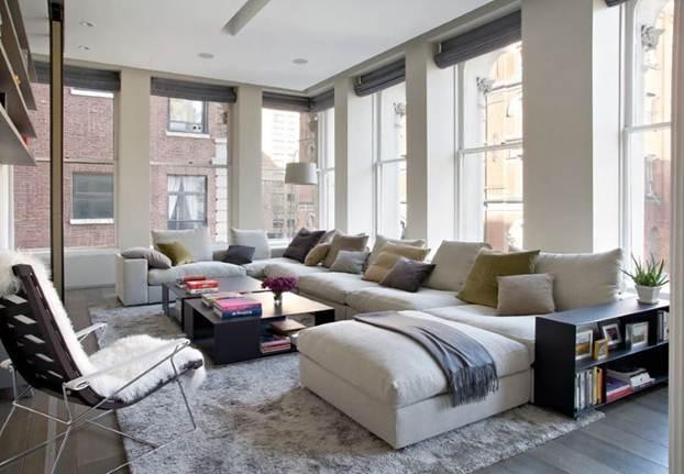 Phòng khách hiện đại với mẫu ghế sofa hình khối