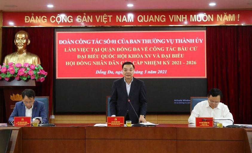 Chủ tịch UBND Thành phố Hà Nội kiểm tra công tác phục vụ bầu cử tại quận Đống Đa