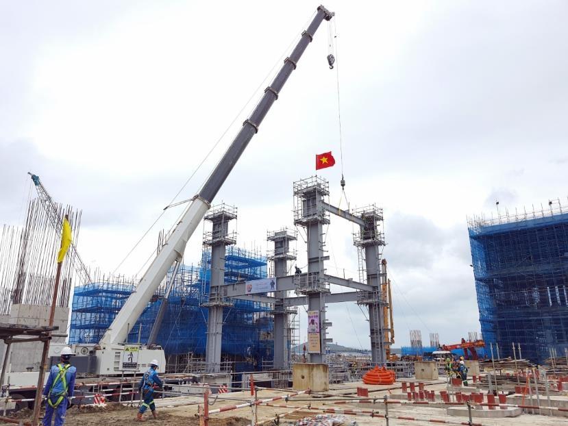 Lilama 18: Khởi công lắp đặt kết cấu thép lò hơi số 1 tại Nhà máy nhiệt điện Vân Phong 1