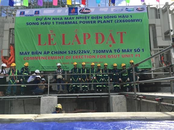 Lắp đặt máy biến áp chính của tổ máy số 1 nhà máy nhiệt điện Sông Hậu 1