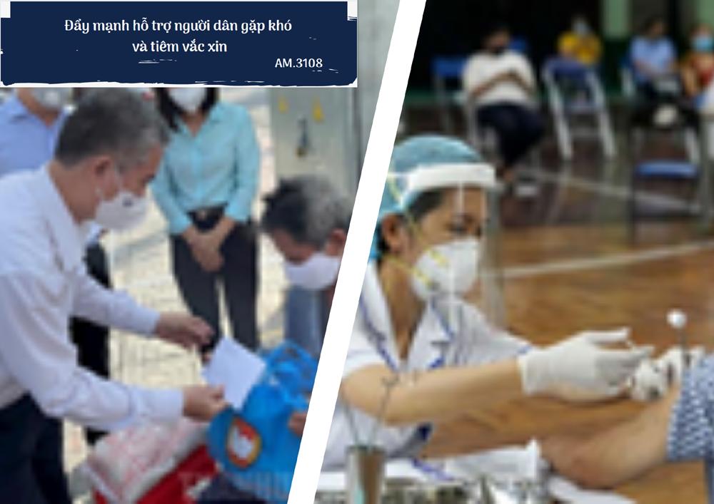 Đẩy mạnh hỗ trợ người dân gặp khó và tiêm vắc-xin