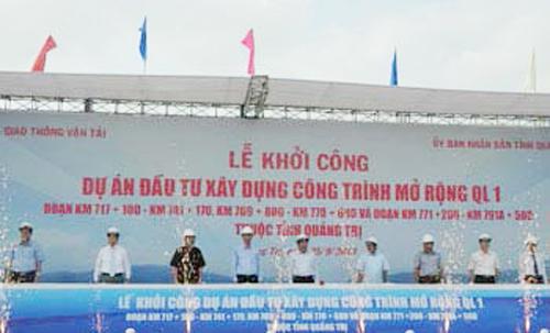 Khởi công dự án mở rộng quốc lộ 1A đoạn qua tỉnh Quảng Trị