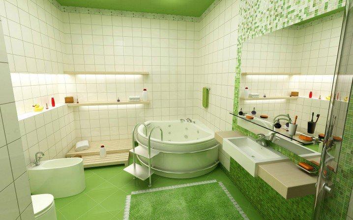 104732baoxaydung image009 Thiết kế làm mới nội thất phòng tắm bằng gam màu xanh mát