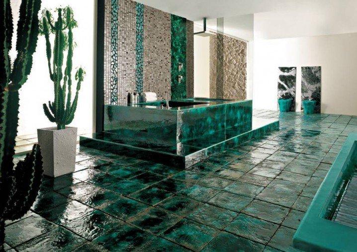 104732baoxaydung image010 Thiết kế làm mới nội thất phòng tắm bằng gam màu xanh mát