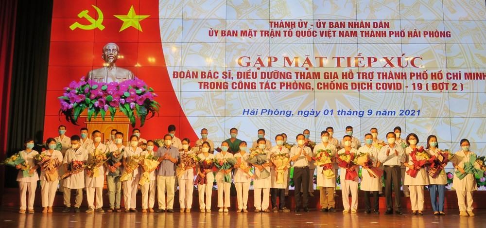 Hải Phòng: Gặp mặt 120 cán bộ, nhân viên y tế hỗ trợ Thành phố Hồ Chí Minh phòng chống dịch đợt 2