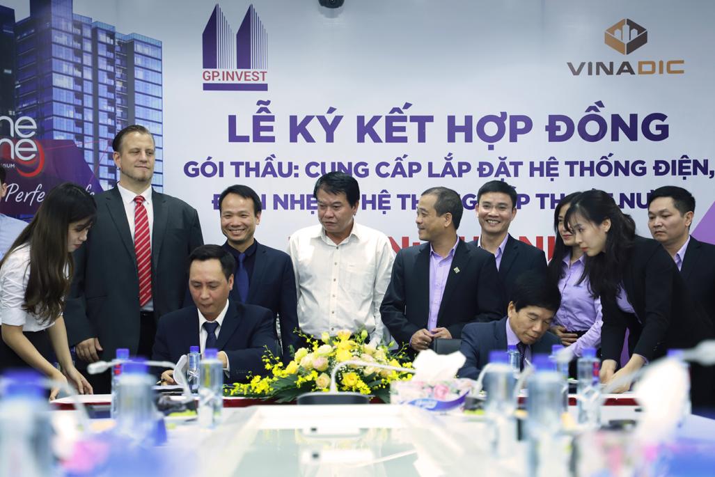VINADIC và GP.INVEST ký kết hợp đồng thi công gói thầu trị giá 80 tỷ đồng tại dự án The Nine Tower