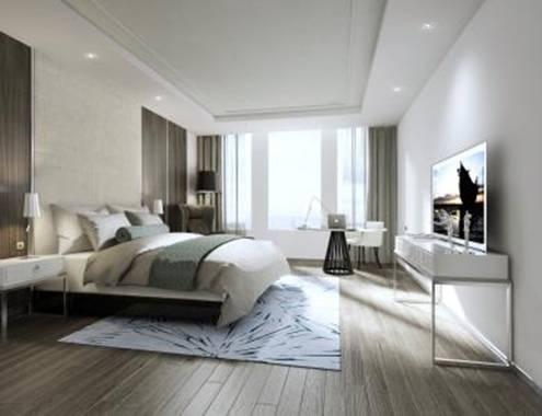 Phối cảnh phòng ngủ hiện đại tại Vinpearl Hà Tĩnh Hotel