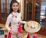 Loan Vương diện áo dài, nón lá giới thiệu về Việt Nam tại Mrs International 2018