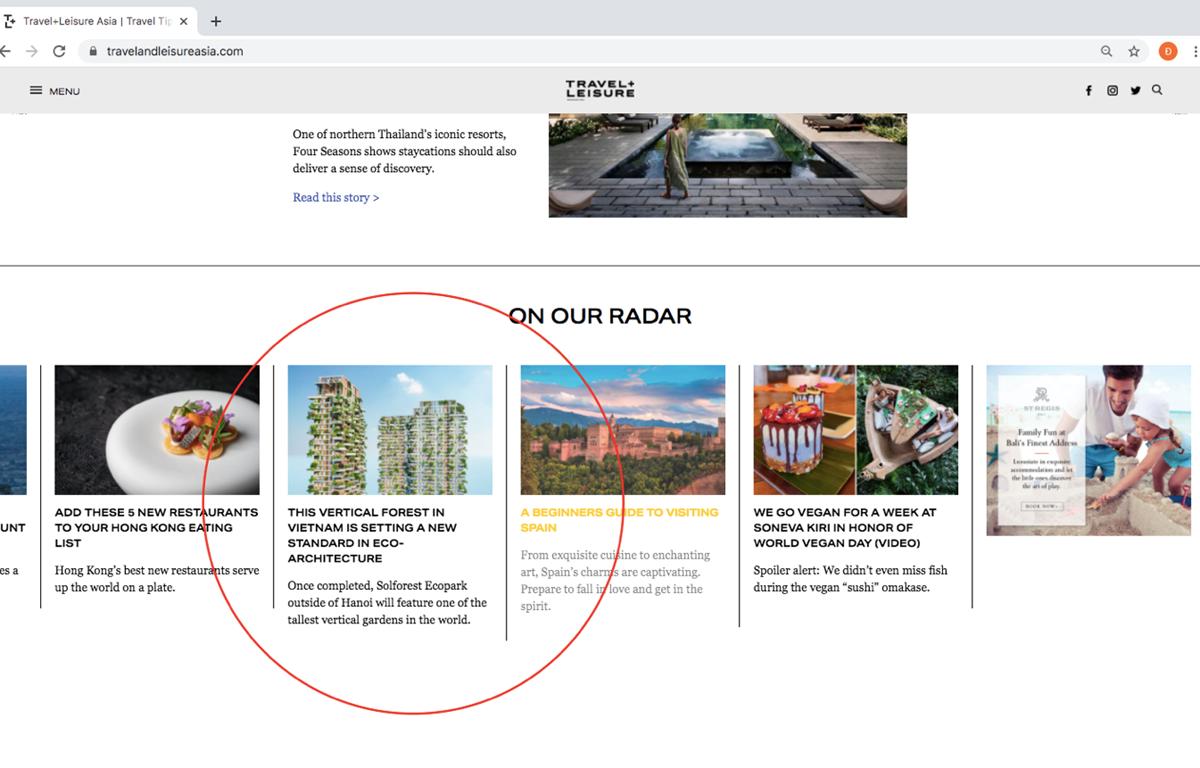 Tạp chí danh tiếng của Mỹ dành vị trí nổi bật trang chủ viết về tòa tháp Xanh cao nhất của Việt Nam