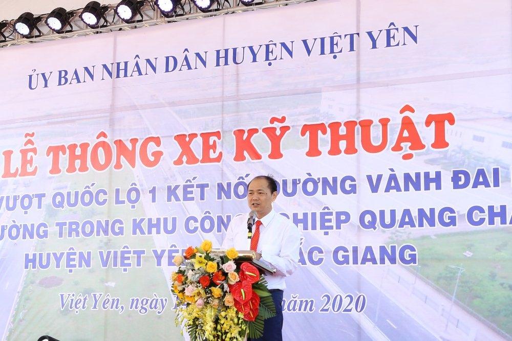 Bắc Giang: Cầu vượt Quốc lộ 1 kết nối đường vành đai IV với đường trong Khu công nghiệp Quang Châu vượt tiến độ 1 năm