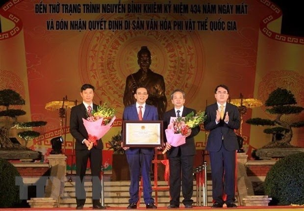 Lễ hội Đền thờ Danh nhân văn hoá Nguyễn Bỉnh Khiêm được công nhận là Di sản văn hoá phi vật thể Quốc gia